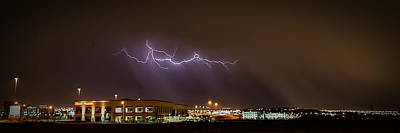 Photograph - Lightning Bolt Over Suburbs by Robert Melvin