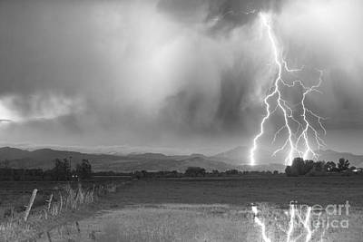 Lightning Bolts Striking Longs Peak Foothills 6bw  Art Print