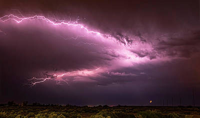 Photograph - Lightning By The Crescent Moon  by Saija Lehtonen