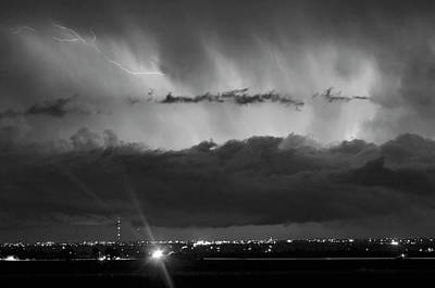 Lightning Cloud Burst Black And White Print by James BO  Insogna