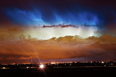 Unusual Lightning Photograph - Lightning Cloud Burst Boulder County Colorado Im34 by James BO  Insogna