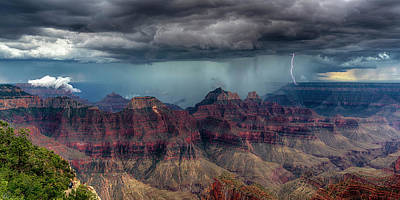 Photograph - Lightning Double Strike Grand Canyon 7r2_dsc1453_08122017 by Greg Kluempers