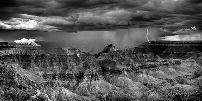 Photograph - Lightning Double Strike Grand Canyon Bnw 7r2_dsc1453_08122017 by Greg Kluempers