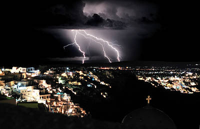 Lightning During A Thunderstorm On The Island Of Santorini, Greece Original