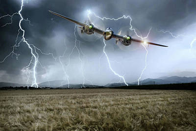 Fighters Digital Art - Lightning Encounter by Peter Chilelli