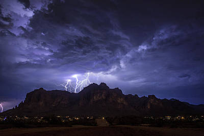 Captured Rain Photograph - Lightning From Lost Dutchman Boulevard by Chuck Brown