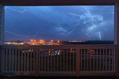 Lightning From The Balcony Art Print