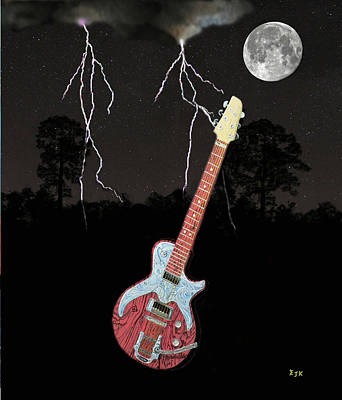 Mixed Media - Lightning Guitar by Eric Kempson