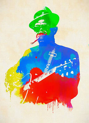 Painting - Lightning Hopkins by Dan Sproul