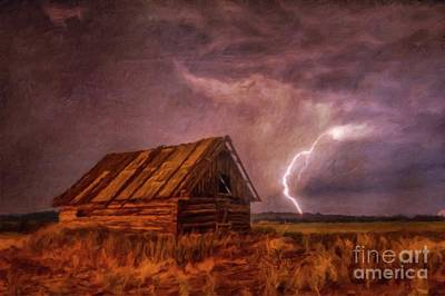 Log Cabins Painting - Lightning Landscape By Sarah Kirk by Sarah Kirk