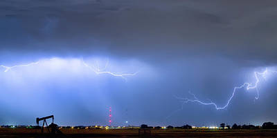 Print featuring the photograph  Lightning Michelangelo Style Panorama by James BO Insogna