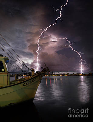 Cj Photograph - Lightning On The Capt. Cj by Jon Neidert