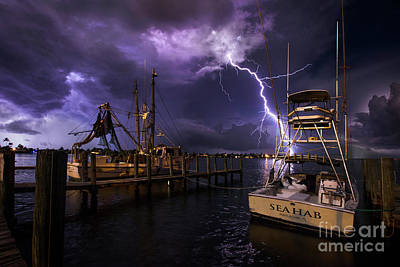 Boat Pier Photograph - Lightning On The Sea Hab by Jon Neidert