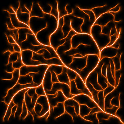 Dark Digital Art - Lightning - Orange by Shane Bechler