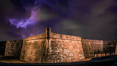 Photograph - Lightning Over Castillo De San Marcos National Monument by Rob Sellers