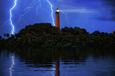 Photograph - Lightning Over Jupiter Inlet Lighthouse And Museum At Twilight by Justin Kelefas