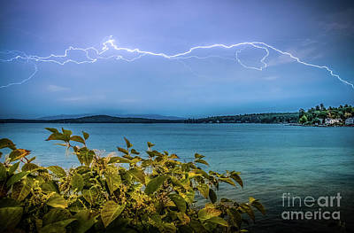 Photograph - Lightning Over Lake Winnipesaukee by Mim White