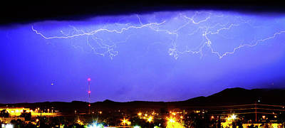 Lightning Over Loveland Colorado Foothills Panorama Art Print by James BO  Insogna
