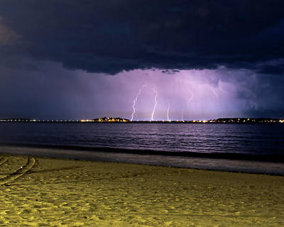 Photograph - Lightning Over Nahant From Revere Beach Revere Ma by Toby McGuire