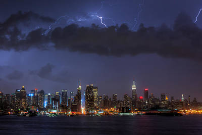 Lightning Over New York City I Print by Clarence Holmes