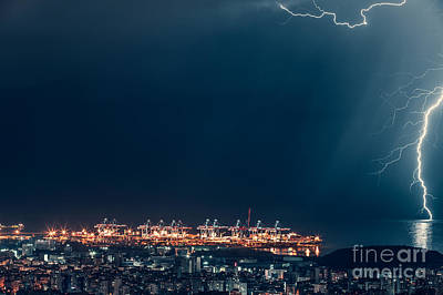 Photograph - Lightning Over Night City by Anna Om