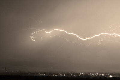 Storms Photograph - Lightning Over North Boulder Colorado  Ibm Sepia by James BO  Insogna