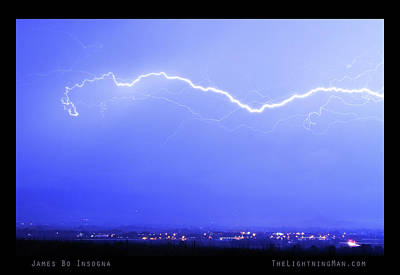 Lightning Over North Boulder Colorado  Poster Lm Print by James BO  Insogna