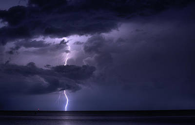 Photograph - Lightning Over Pensacola Bay by JC Findley