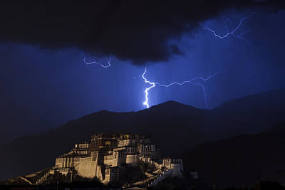 Photograph - Lightning Over Potala Palace, Lhasa, 2007 by Hitendra SINKAR
