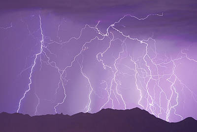 Lightning Over The Mountains Art Print