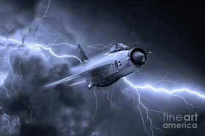 Lightning Digital Art - Lightning Power - Mono by J Biggadike