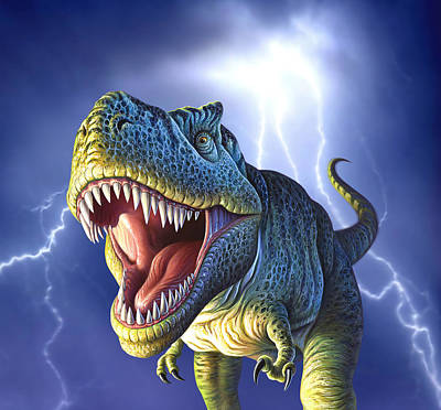 Aggressive Digital Art - Lightning Rex by Jerry LoFaro