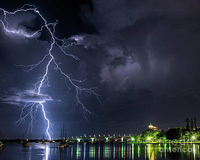 Photograph - Lightning Sarasota Bay 1 by Damon Powers