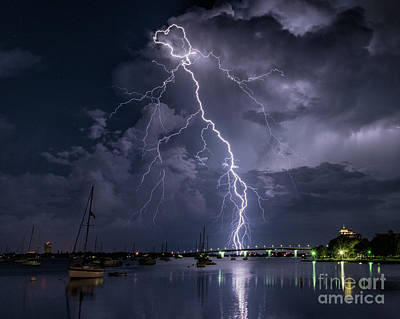 Photograph - Lightning Sarasota Bay 2 by Damon Powers
