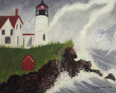 Nubble Light Painting - Lightning Storm At Nubble Light by Suzanne  Marie Leclair