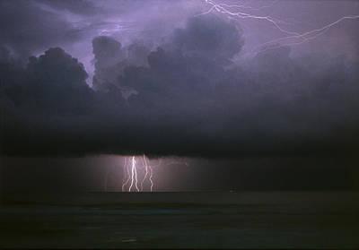 Photograph - Lightning Storm At Sea by David Halperin