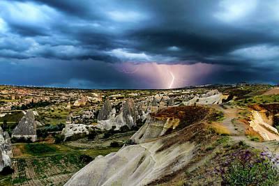 Photograph - Lightning Storm In Cappadocia, Turkey by Jose Luis Vilchez