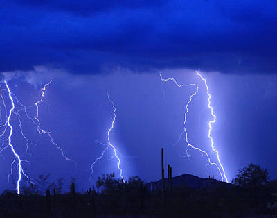 Photograph - Lightning Storm In The Desert Fine Art Photography Print by James BO Insogna