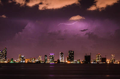 Photograph - Lightning Storm Miami South Beach by Carmen Tosca