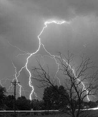 Weather Photograph - Lightning Storm On 17th Street Bw Fine Art Print by James BO  Insogna