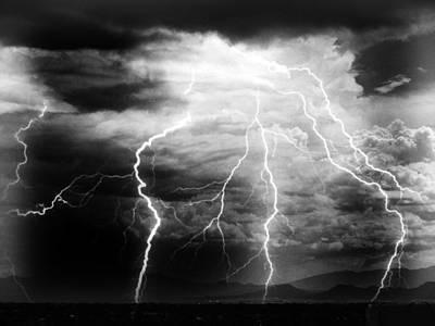 Lightning Storm Over The Plains Art Print by Joseph Frank Baraba
