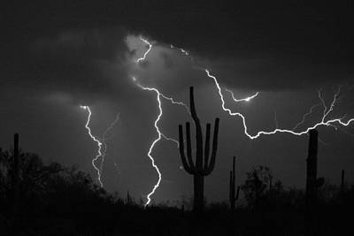 Lightning Storm Saguaro Fine Art Bw Photography Art Print