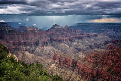 Photograph - Lightning Strike Grand Canyon 7r2_dsc1437_08122017  by Greg Kluempers