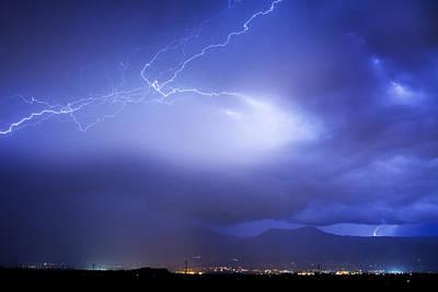 Lightning Strikes Over Boulder Colorado Art Print by James BO  Insogna