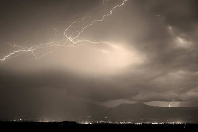 Blues Photograph - Lightning Strikes Over Boulder Colorado Sepia by James BO  Insogna