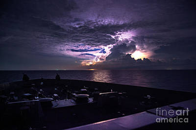 Us Navy Painting - Lightning Strikes The Water  by Celestial Images