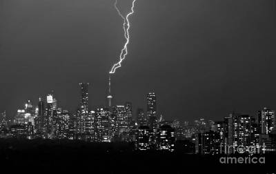 Photograph - Lightning Striking Cn Tower In Light Rain by Charline Xia