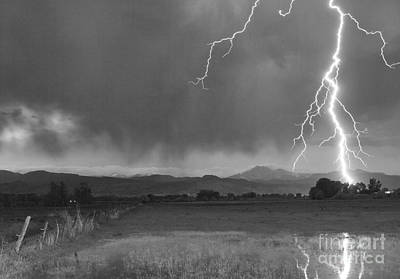 Lightning Striking Longs Peak Foothills 5bw Art Print