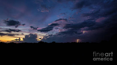 Print featuring the photograph Lightning Sunset by Brian Jones