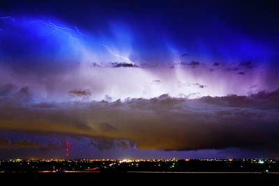 Striking Images Photograph - Lightning Thunder Head Cloud Burst Boulder County Colorado Im39 by James BO  Insogna